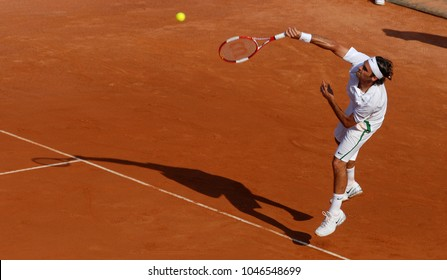 "ROME, MAY 09, 2006: Swiss famous tennis player Roger Federer in action at the Italian tournament ""Internazionali d'Italia"", in Rome."