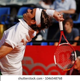 """ROME, MAY 09, 2006: Swiss famous tennis player Roger Federer in action at the Italian tournament """"Internazionali d'Italia"""", in Rome."""