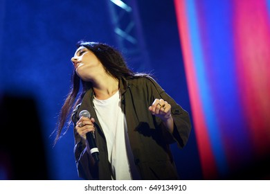 ROME - MAY 1, 2017: The artist Levante during her performance  on the stage of the First May.