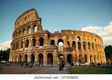 ROME - MAY 12: Colosseum with tourists on May 12, 2016 in Rome, Italy. Rome ranked 14th in the world, 3rd in European Union, and 1st the most popular tourism attraction in Italy.