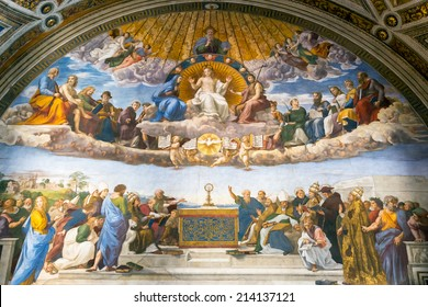 Rome - May 14, 2014: Disputation of the Holy Sacrament. The Renaissance fresco by Raphael in Stanze di Raffaello, Vatican Museum, Italy. Old Roman wall painting in former papal palace.