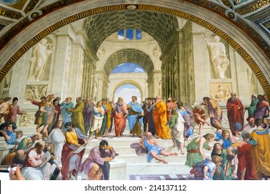 Rome - May 14, 2014: School of Athens, Renaissance fresco by Raphael in Stanze di Raffaello, Vatican Museum, Italy. Aristotle and Plato among other philosophers in the center of the famous painting.