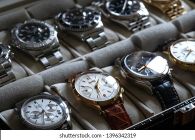 ROME - MAY, 2019: Luxury watches collection including Zenith El Primero, Eberhard Extra Fort, Longines and different models of Rolex. Illustrative editorial.