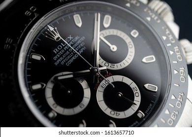 ROME - MAY, 2019: New Rolex Daytona Oyster Perpetual Superlative Chronometer with ceramic bezel. Rolex SA is a Swiss luxury watchmaker, founded in London, England in 1905. Illustrative editorial.
