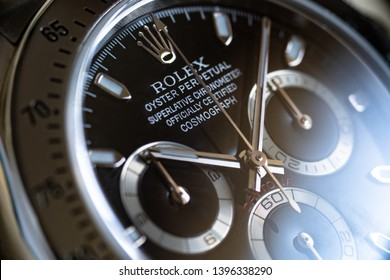 ROME - MAY, 2019: Rolex Daytona Oyster Perpetual Superlative Chronometer. Rolex SA is a Swiss luxury watchmaker, founded in London, England in 1905. Illustrative editorial.