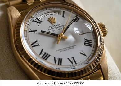 ROME - MAY, 2019: Rolex Oyster Perpetual Day Date gold watch. Rolex SA is a Swiss luxury watchmaker, founded in London in 1905. Illustrative editorial.