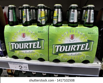 Rome, May 26, 2019 bottles of Tourtel beers at the Auchan supermarket in Rome