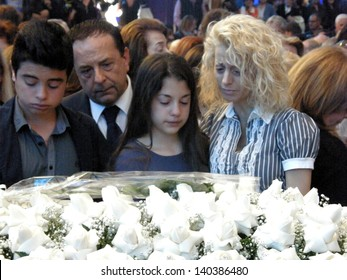 ROME - MAY 30: Tony Little's funeral at the shrine of Divine Love. Daughter and grandchildren of Little Tony .Italy, 30 May 2013, Rome