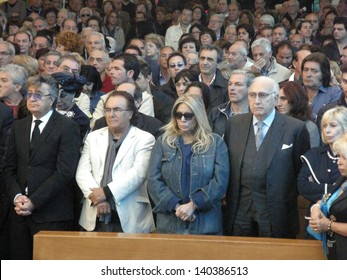 ROME - MAY 30: Tony Little's funeral at the shrine of Divine Love. Bobby Solo,Al Bano,Mara Venier,Pippo Baudo .  Italy, 30 May 2013, Rome