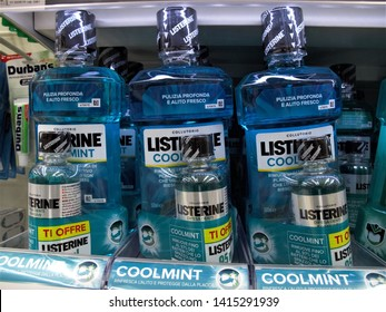 Rome, May 30.2019 bottles of Listerine mouthwash at the Auchan  supermarket in Rome