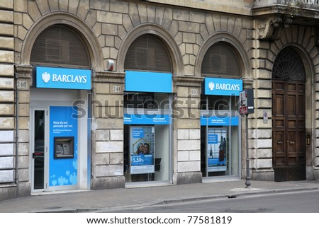 ROME - MAY 9: Barclays bank branch street view on May 9, 2010 in Rome, Italy. According to Forbes, Barclays is 25th largest company worldwide. According to Datamonitor - largest bank by market share.