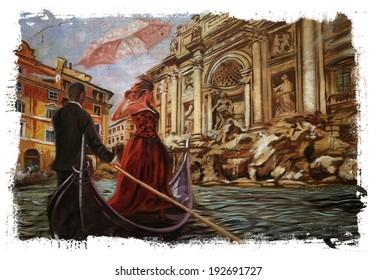 Rome meets Venice Torn Edges