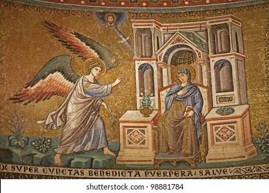 Rome - mosaic of Annuntiation in Santa Maria in Trastevere basilica by Pietro Cavallini (1291)