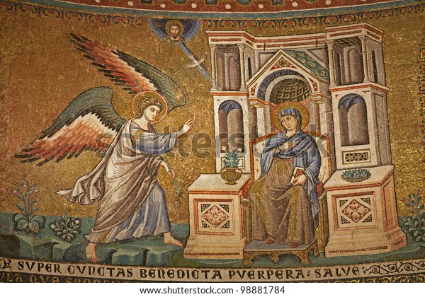 Rome - mosaic of Annuntiation in Santa Maria in Trastevere basilica by Pietro Cavallini (1291)