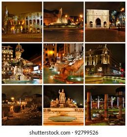 Rome in the night. Di Trevi fountain, Coloseum, Triumphal Arch of Constantine. Collage