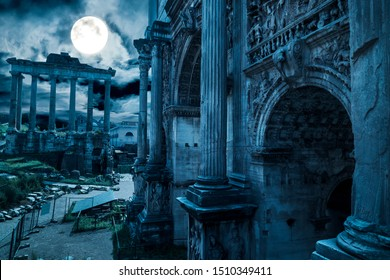 Rome at night, Italy. Fantasy view of old Roman Forum, landmark of Rome. Mysterious ancient ruins of gloomy Rome in full moon. Spooky dark scene of destroyed buildings for history and Halloween theme