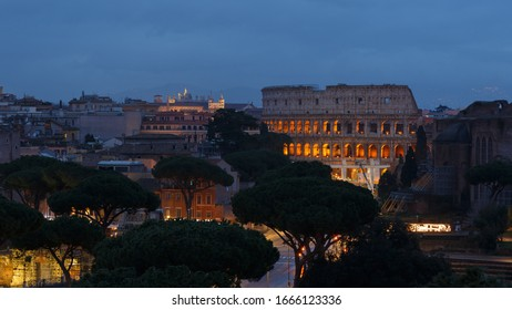 Rome night view with coliseum