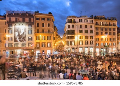 ROME - NOV 2: Tourists enjoy Piazza di Spagna, November 2, 2012 in Rome. 10 million people visit the city every year.