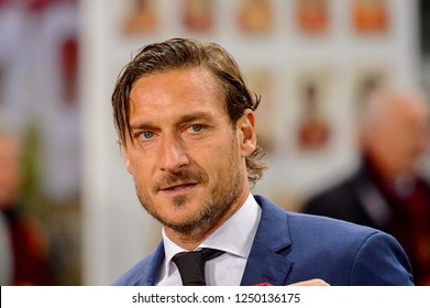 ROME - NOV 27, 2018: Francesco TOTTI, the captain, legend and ex player of the AS ROMA. UEFA Champions League.  Group stage. Matchday 5. Stadio Olimpico