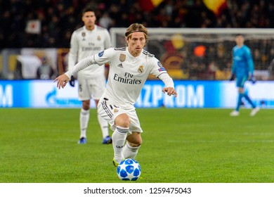ROME - NOV 27, 2018: Luka Modric 10 controls the ball. AS Roma - Real Madrid. UEFA Champions League.  Group stage. Matchday 5. Stadio Olimpico