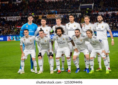 ROME - NOV 27, 2018: Real Madrid team photo before the mathc. UEFA Champions League.  Group stage. Matchday 5. Stadio Olimpico