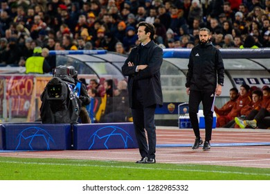 ROME - NOV 27, 2018: Santiago Solari, new Real manager, AS Roma - Real Madrid. UEFA Champions League.  Group stage. Matchday 5. Stadio Olimpico