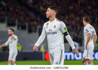 ROME - NOV 27, 2018: Sergio Ramos 4 close up portrait. AS Roma - Real Madrid. UEFA Champions League.  Group stage. Matchday 5. Stadio Olimpico