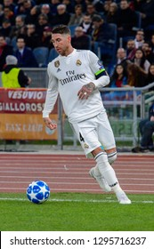 ROME - NOV 27, 2018: Sergio Ramos 4 controls the ball. AS Roma - Real Madrid. UEFA Champions League.  Group stage. Matchday 5. Stadio Olimpico