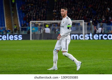 ROME - NOV 27, 2018: Sergio Ramos 4. AS Roma - Real Madrid. UEFA Champions League.  Group stage. Matchday 5. Stadio Olimpico