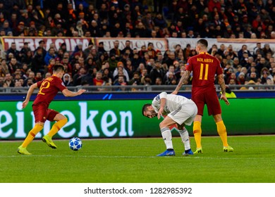 ROME - NOV 27, 2018: Stephan El Shaarawy 92 does dribbling. AS Roma - Real Madrid. UEFA Champions League.  Group stage. Matchday 5. Stadio Olimpico