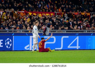 ROME - NOV 27, 2018: Stephan El Shaarawy 92 gets injured. AS Roma - Real Madrid. UEFA Champions League.  Group stage. Matchday 5. Stadio Olimpico