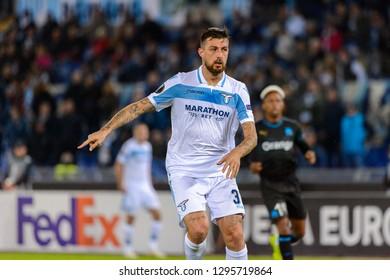 ROME - NOV 8, 2018: Francesco Acerbi 33. SS Lazio - Olympique Marseille. UEFA Europe League. Stadio Olimpico.