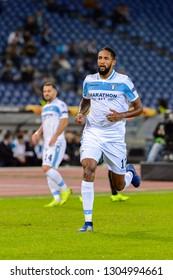 ROME - NOV 8, 2018: Wallace 13. SS Lazio - Olympique Marseille. UEFA Europe League. Stadio Olimpico.