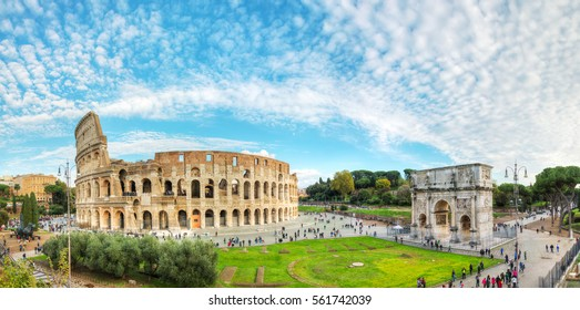 ROME - NOVEMBER 09: The Colosseum or Flavian Amphitheatre with people on November 9, 2016 in Rome, Italy.