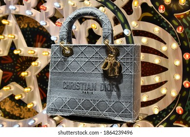 ROME NOVEMBER 25 2020 BAG ON DISPLAY AT CHRISTIAN DIOR BOUTIQUE IN SPAGNA SQUARE