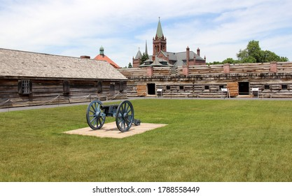 Rome, NY, USA - June 8, 2014: Fort Stanwix, the current fort is a reconstruction of the historic 18th century Fort, cannon and wooden barracks on the inner grounds