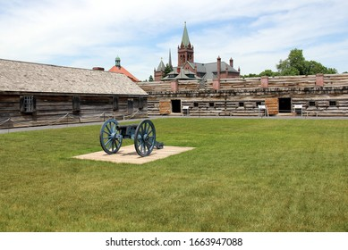 Rome, NY/USA - June 8, 2014: Fort Stanwix, the current fort is a reconstruction of the historic 18th century Fort, cannon and wooden barracks on the inner grounds