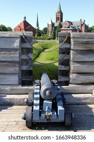 Rome, NY/USA - June 8, 2014: Fort Stanwix, the current fort is a reconstruction of the historic 18th century Fort, artillery installation on the wall