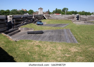 Rome, NY/USA - June 8, 2014: Fort Stanwix, the current fort is a reconstruction of the historic 18th century Fort, artillery installations on the wall