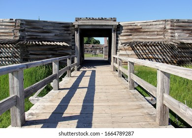 Rome, NY/USA - June 8, 2014: Fort Stanwix, the current fort is a reconstruction of the historic 18th century Fort, bridge over the moat to the main gate