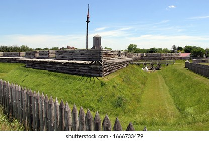 Rome, NY/USA - June 8, 2014: Fort Stanwix, 1976 reconstruction of the historic 18th century Fort, corner bastion and the moat