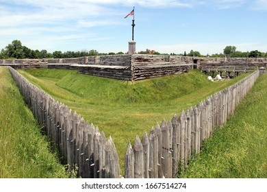 Rome, NY/USA - June 8, 2014: Fort Stanwix, modern reconstruction of the historic 18th century Fort, corner bastion and the moat