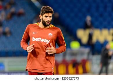ROME - OCT 23, 2018: Federico Fazio 20 close up portrait. AS Roma - CSKA Moscow. UEFA Champions league. Matchday 4. Stadio Olimpico