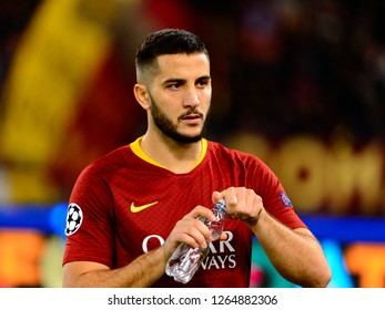 ROME - OCT 23, 2018: Kostas Manolas 44 drinks water. AS Roma - CSKA Moscow. UEFA Champions league. Matchday 4. Stadio Olimpico