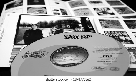 Rome, October 03, 2020: CDs and artwork of US rap band BEASTIE BOYS. Formed in New York in 1981, a group known for its videos and precursor of rap rock, hip hop music