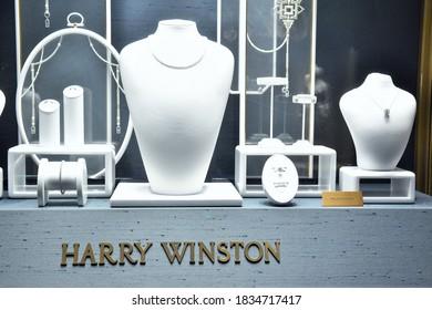 ROME OCTOBER 07 2020 A SHOWCASE OF HARRY WINSTON LUXURY JEWELRY IN CONDOTTI STREET
