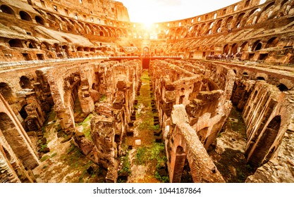Rome - October 1, 2012: Inside the Colosseum in summer, Italy. Ancient Roman Colosseum is the main landmark of Rome. Sunny ruins of the Colosseum arena. Panoramic view of Colosseum in sun light.