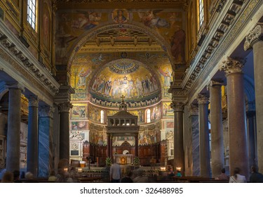ROME - OCTOBER 12: Interior of Basilica di Santa Maria in Trastevere on October 12, 2013 in Rome. Italy