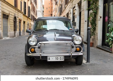 ROME - OCTOBER 20: Retro Mini cooper parked on October 20, 2013 in Rome,Italy