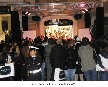 ROME - OCTOBER 21: Opening store Santoni Piazza di Spagna. October 21, 2010, Rome, Italy